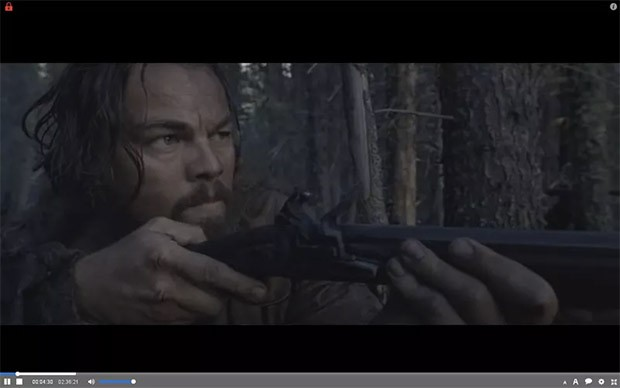 "Un fotogramma del film ""The Revenant"" riprodotto su The Pirate Bay con il plugin Torrents Time"