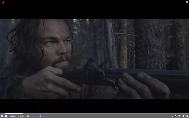 """Un fotogramma del film """"The Revenant"""" riprodotto su The Pirate Bay con il plugin Torrents Time"""