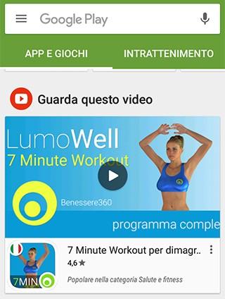 Le inserzioni video nella schermata principale di Play Store