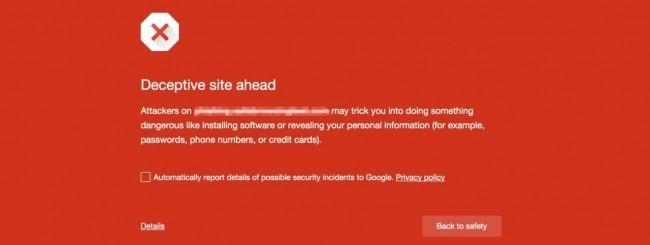 Google Chrome warning