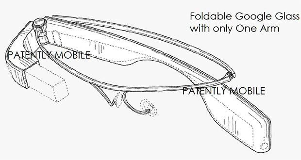 Un'immagine tratta del brevetto assegnato a Google sulla versione pieghevole degli occhiali Glass