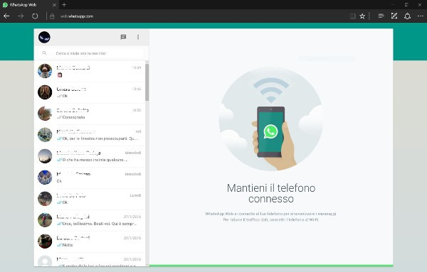 WhatsApp Web funziona su Microsoft Edge