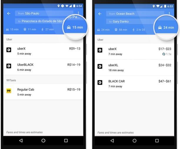 L'integrazione dei servizi di ride sharing in Google Maps