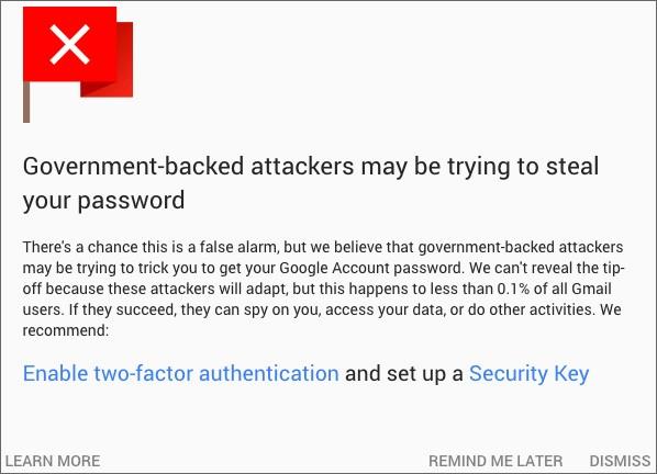"""L'avviso mostrato da Gmail ai presunti bersagli degli """"attacchi di stato"""""""