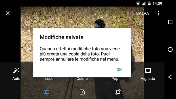 L'applicazione Google Foto, dopo l'ultimo aggiornamento, avvisa della possibilità di apportare modifiche non distruttive alle immagini salvate nel dispositivo