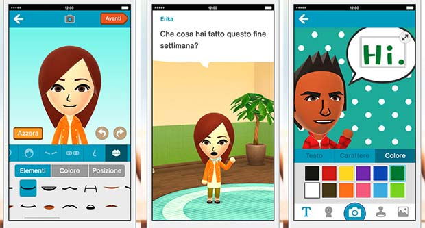 Screenshot per l'applicazione Miitomo di Nintendo, per dispositivi Android e iOS
