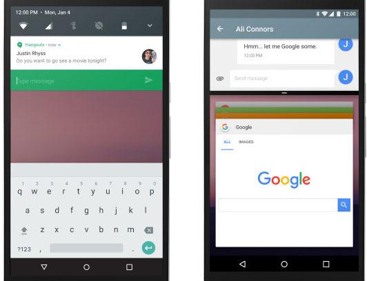 Il nuovo menu delle notifiche (sinistra) e lo split screen di Android N su smartphone (destra)