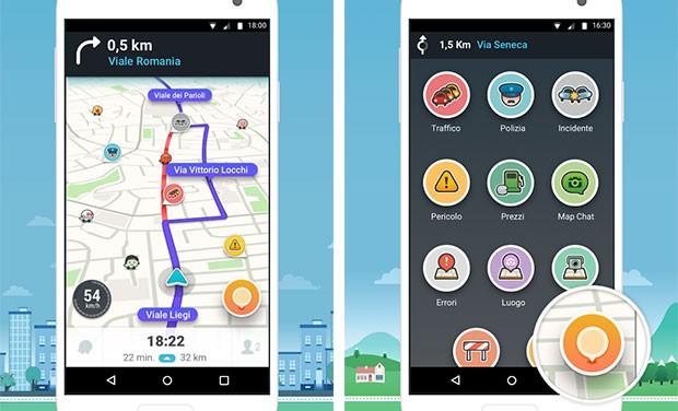 Screenshot per la versione 4.0 dell'app Waze dedicata alla navigazione stradale
