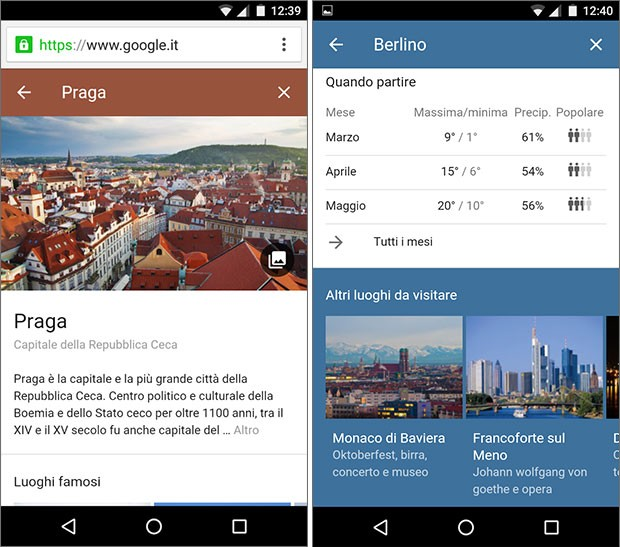 Le schede delle città mostrate dalla feature Destinazioni su Google