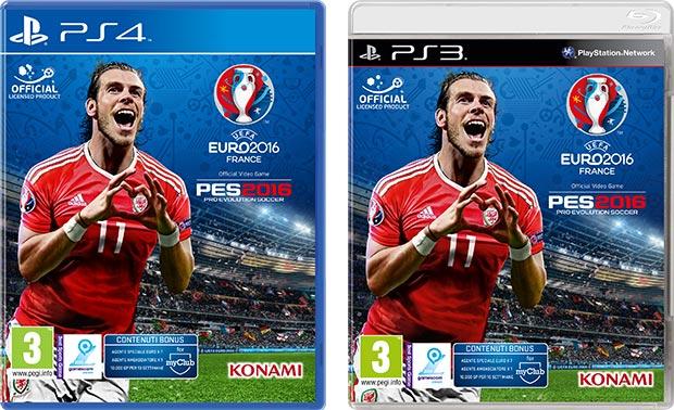Le copertine delle versioni PS4 e PS3 di UEFA Euro 2016, con il testimonial gallese Gareth Bale