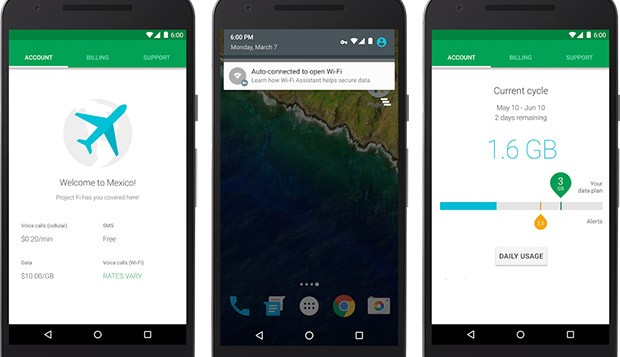 Screenshot per Project Fi