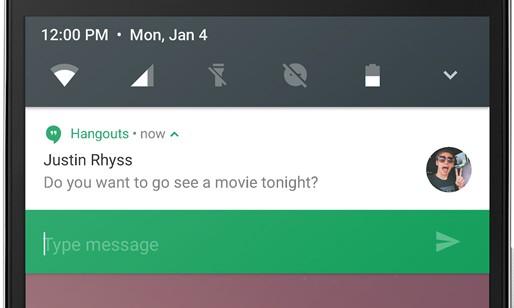 La possibilità di rispondere ad un messaggio direttamente dalla notifica