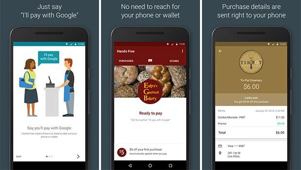 Screenshot per l'applicazione Hands Free di Google su smartphone Android