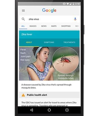 Le informazioni sul virus Zika mostrate da Google in seguito ad una ricerca