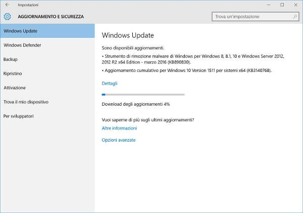 Windows 10, Microsoft rilascia la build 10586.164