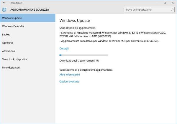 Windows 10, Microsoft rilascia la build 10586.164