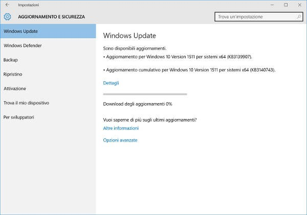 Windows 10, Microsoft rilascia la build 10586.122