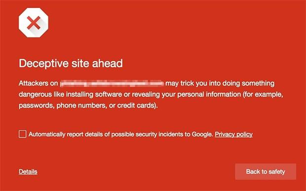 La schermata rossa mostrata dalla funzionalità Safe Browsing di Chrome per i siti e le pagine ritenute pericolose o ingannevoli