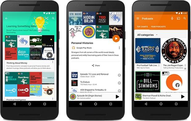 La sezione dedicata ai podcast su Google Play Musica, al momento solo negli Stati Uniti e in Canada