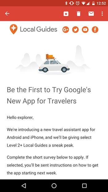Primi indizi su una nuova applicazione sviluppata da Google e indirizzata a chi ama viaggiare