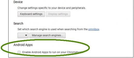 """L'opzione """"Enable Android Apps to run on your Chromebook"""" notata da alcuni utenti su Chrome OS"""