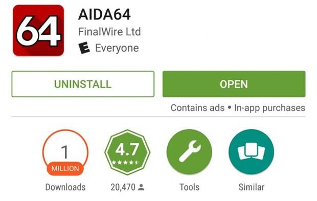 La scheda dell'applicazione AIDA64 su Play Store, che segnala la presenza di pubblicità