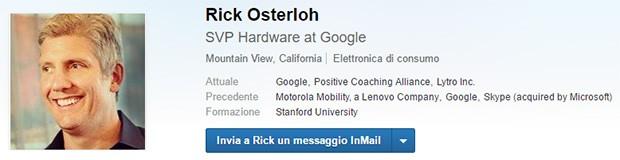 Il profilo LinkedIn di Rick Osterloh