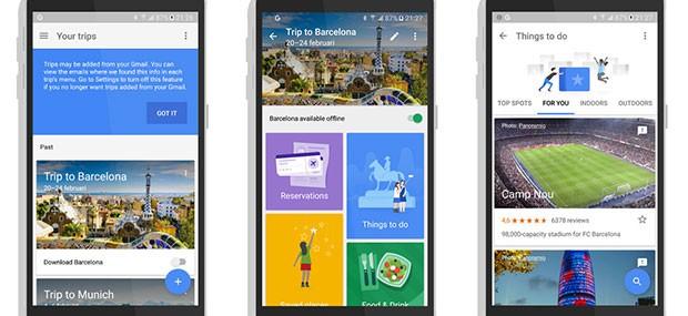 Screenshot per l'interfaccia dell'applicazione Google Trips