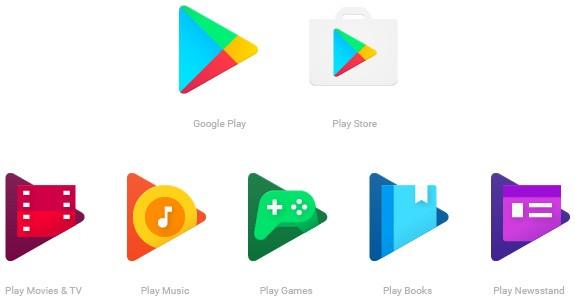 Le nuove icone delle applicazioni legate alla piattaforma Google Play
