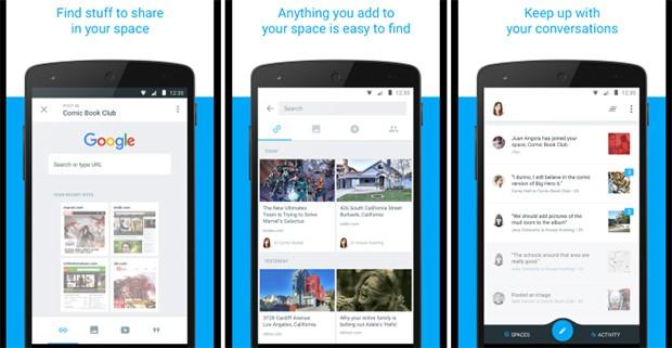 Screenshot per l'applicazione Space di Google, dedicata alle chat di gruppo