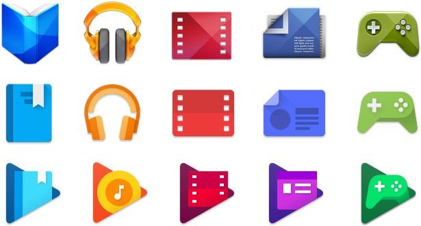 Tre generazioni di icone Google Play a confronto: in alto le più datate, sotto quelle più recenti