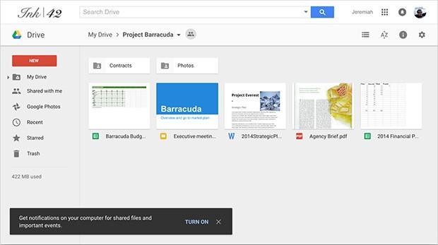 Il box di Google Drive che chiede l'attivazione della funzionalità per mostrare le notifiche all'interno del browser Chrome