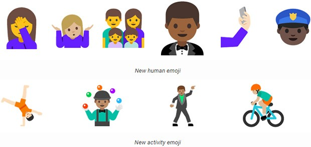 "Le nuove emoji ""umane"" introdotte da Google,"