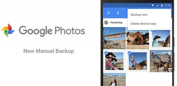 Google Foto introduce il backup manuale delle immagini