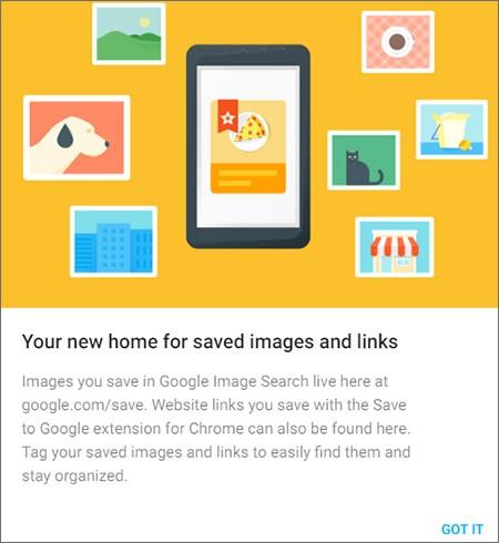 Il messaggio che accoglie gli utenti al primo accesso sul sito Save to Google