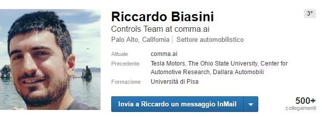 Il profilo LinkedIn di Riccardo Biasini