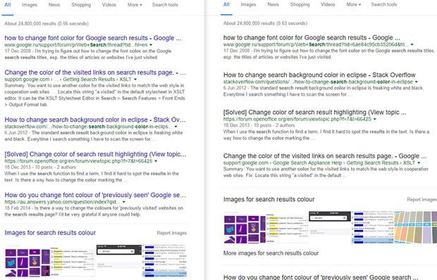 La tradizionale SERP di Google con i link blu (a sinistra) e quella con il font nero attualmente in fase di test (a destra)