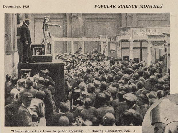 La presentazione di Eric alla Exhibition of the Society of Model Engineers di Londra, nel 1928