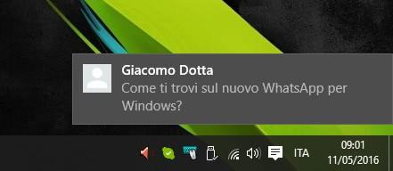 La notifica visualizzata da WhatsApp per computer alla ricezione di un messaggio