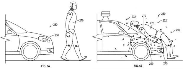Uno schema esplicativo contenuto nel brevetto di Google che mira a proteggere i pedoni in caso di incidenti