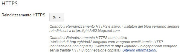 """La nuova impostazione """"Reindirizzamento HTTPS"""" per i blog del circuito Blogger"""