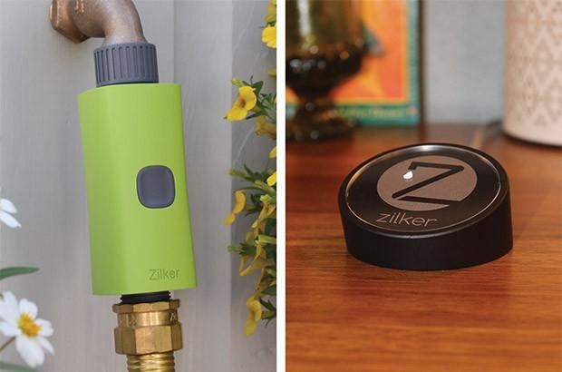 Il dispositivo Zilker per rendere smart l'impianto di irrigazione e il suo hub da tenere in casa