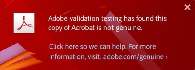 L'avviso che viene visualizzato se sul computer è installata una versione pirata di Acrobat X.