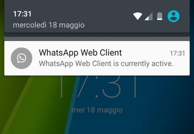 La notifica per WhatsApp Web mostrata in WhatsApp 2.16.86 per Android.