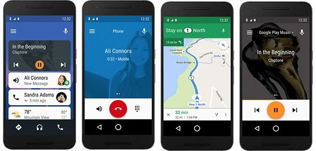 L'interfaccia dell'applicazione Android Auto su smartphone Android