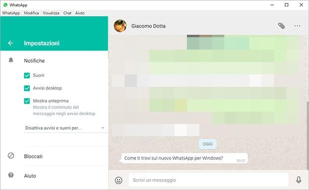 Le impostazioni di WhatsApp per computer