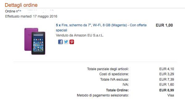 Amazon: Kindle Fire 8 GB a 1 euro