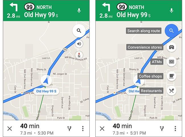 Screenshot per la versione 9.26.1 dell'applicazione Google Maps, che permette di effettuare ricerche anche durante la navigazione stradale a piedi e in bici