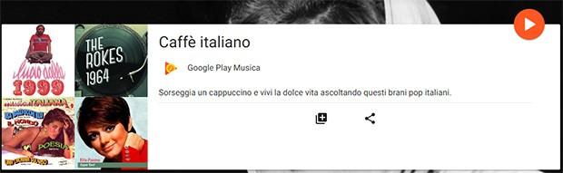 """La playlist Caffè italiano di Google Play Musica: """"Sorseggia un cappuccino e vivi la dolce vita ascoltando questi brani pop italiani"""""""