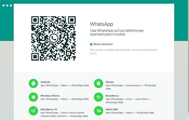Il codice QR da scansionare al primo utilizzo di WhatsApp per computer